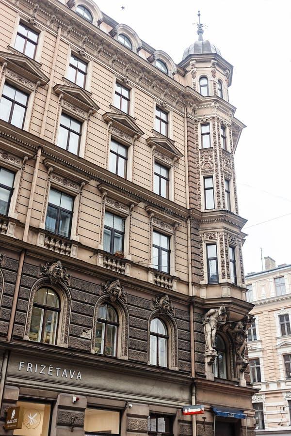 Architettura Art Nouveau a Riga, Lettonia fotografia stock