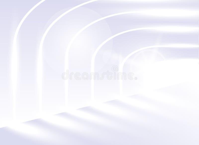 Architettura astratta del fondo di vettore Prospettiva architettonica Le linee pendenti dell'architettura Corridoio bianco lumino illustrazione vettoriale