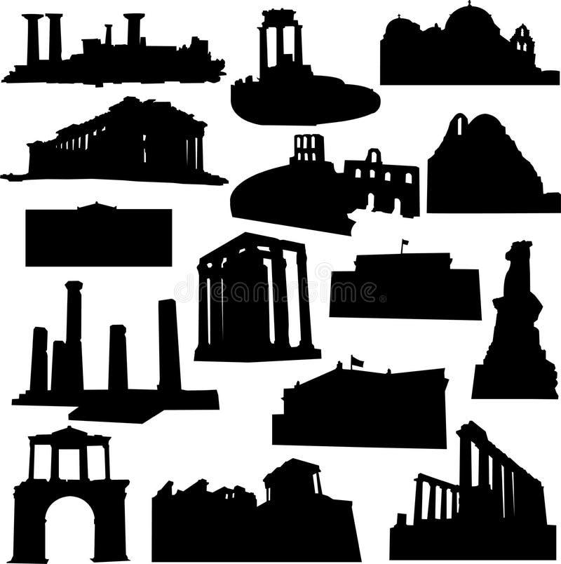 Architettura ben nota della Grecia illustrazione vettoriale