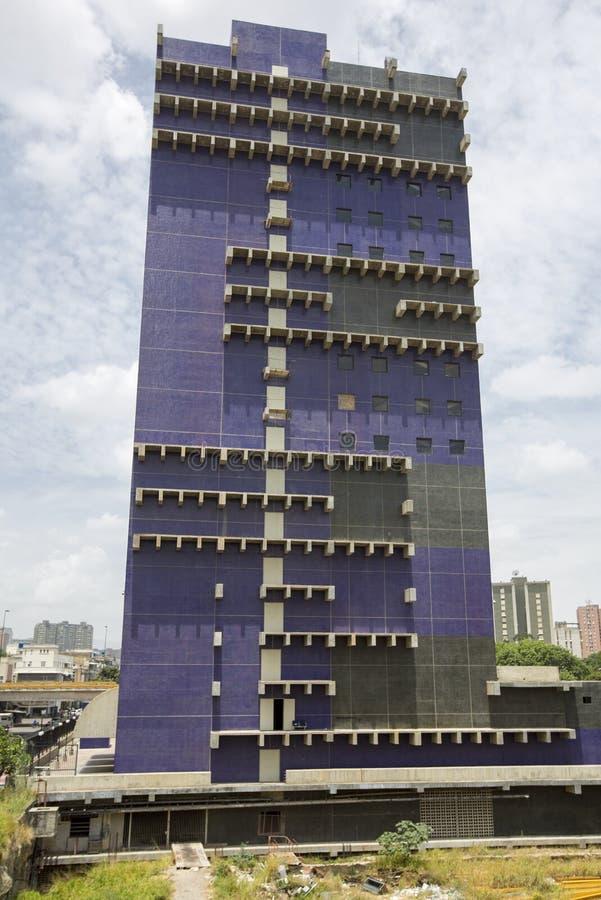 Architettura contemporanea blu a Caracas, Venezuela fotografia stock