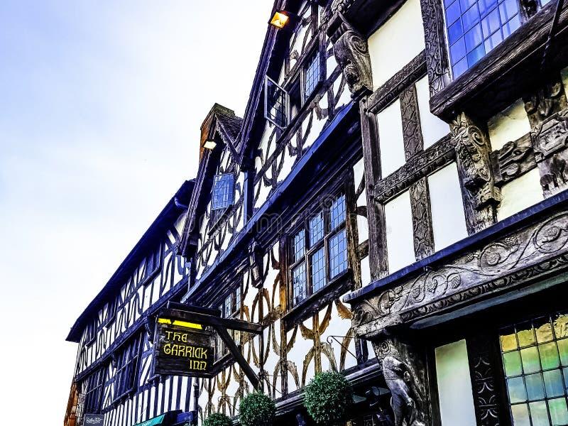 Architettura d'annata di Stratford-sopra-Avon, Warwickshire, Regno Unito fotografia stock