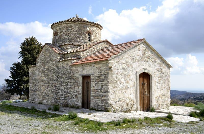 Architettura dalla vecchia chiesa nel villaggio di Kato Lefkara fotografia stock libera da diritti
