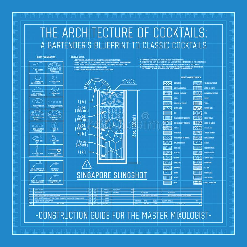 Architettura dei cocktail il modello di un barista ai cocktail classici royalty illustrazione gratis
