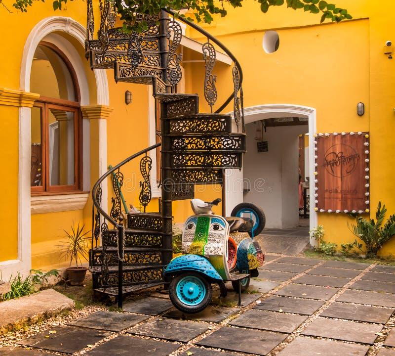 Architettura del francese di Pondicherry fotografia stock