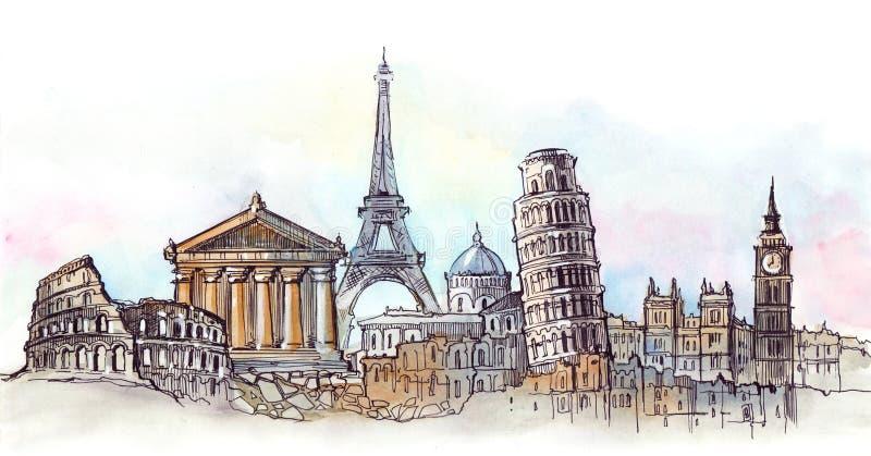 Architettura del mondo illustrazione di stock