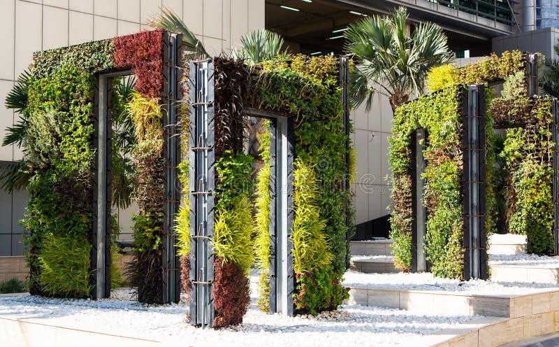 Architettura del pæsaggio moderna Strutture rettangolari del metallo come le porte coperte di vegetazione verde immagine stock