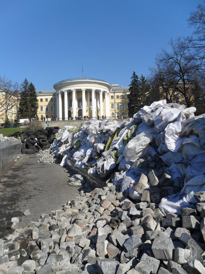 Architettura 2014 dell'Ucraina di rivoluzione di guerra di Kyiv Maydan Kiev immagine stock libera da diritti