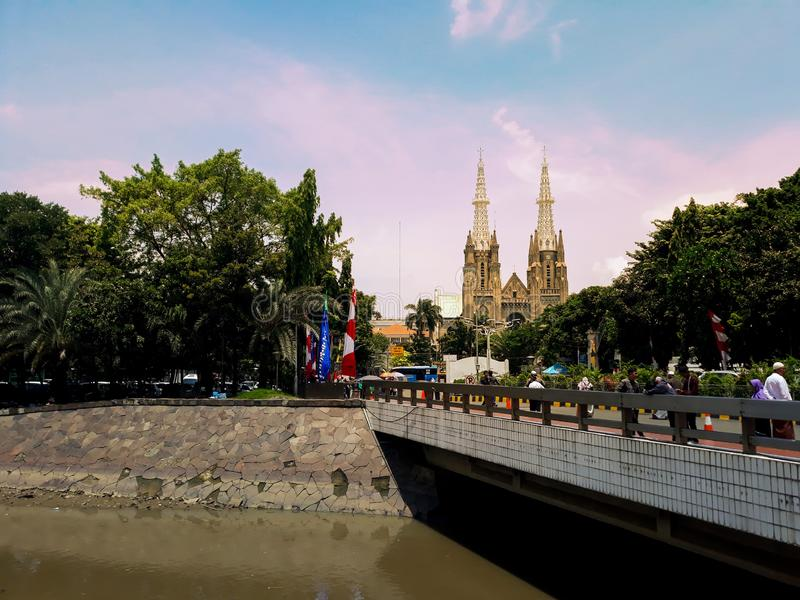 architettura della chiesa katedral a Jakarta fotografia stock