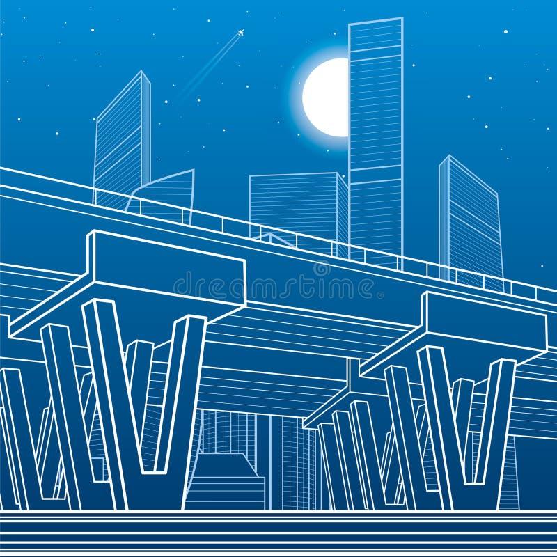 Architettura della città ed illustrazione dell'infrastruttura, passaggio automobilistico, grande ponte, scena urbana Città di not royalty illustrazione gratis