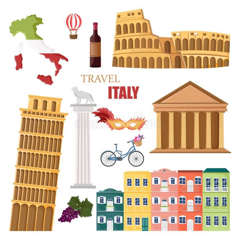 Architettura della raccolta dell'Italia e vettore stabiliti di simboli royalty illustrazione gratis