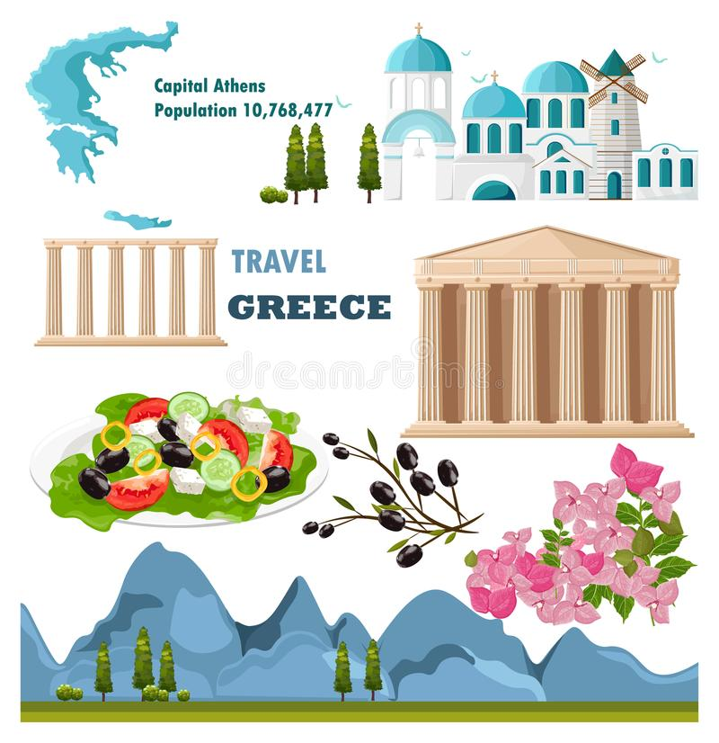Architettura della raccolta della Grecia e vettore stabiliti di simboli royalty illustrazione gratis