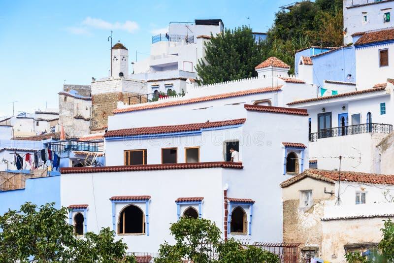Architettura di Chefchaouen, Marocco fotografia stock