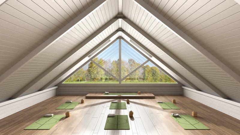 Architettura di design degli interni dello studio yoga, spazio aperto minimo, organizzazione spaziale con tappeti e accessori, pr fotografie stock
