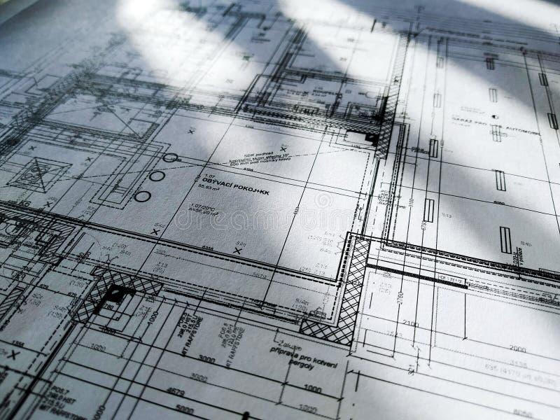 Architettura di disegno Costruzione Cartoncino bianco White paper con dimensioni e linee con raggi solari fotografia stock