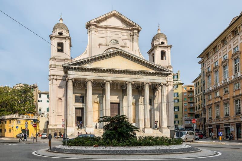 Architettura di Genova, Ligury, Italia - cattedrale cattolica fotografia stock libera da diritti