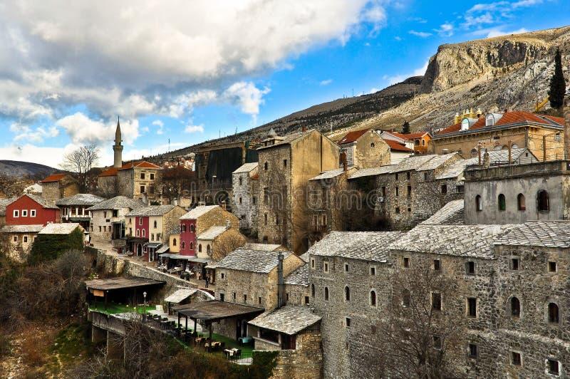 Architettura di Mostar Città Vecchia fotografia stock