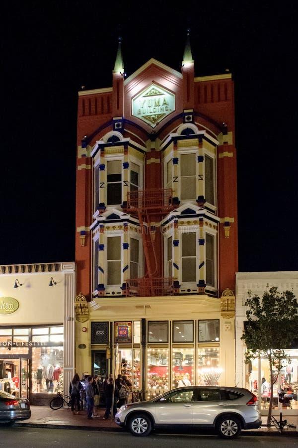 Architettura distintiva del distretto di Gaslamp, San Diego immagini stock