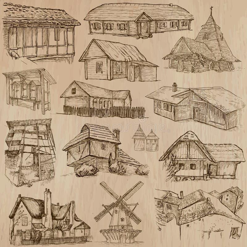 Architettura e posti intorno al mondo - disegni a mano libera illustrazione vettoriale