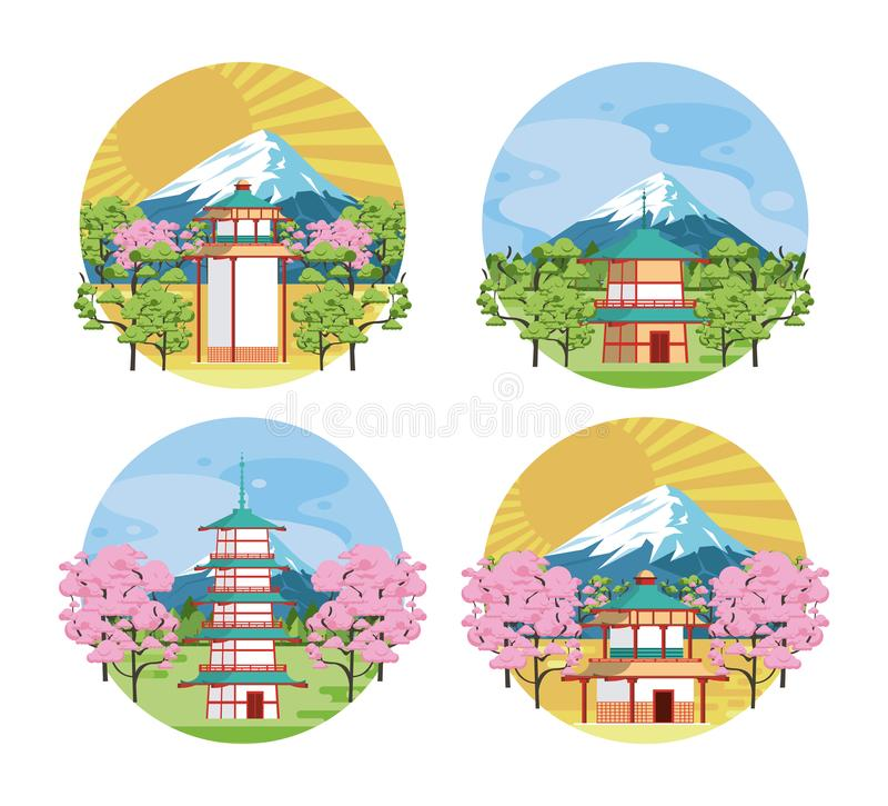Architettura ed elementi giapponesi royalty illustrazione gratis