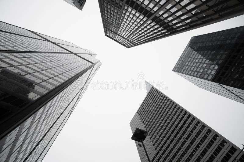 Architettura ed i paesaggi urbani torreggianti di cinque edifici di Chicago fotografie stock libere da diritti