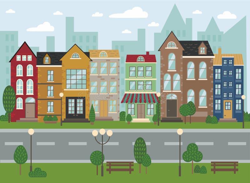 Architettura europea tradizionale, vecchia via della città royalty illustrazione gratis