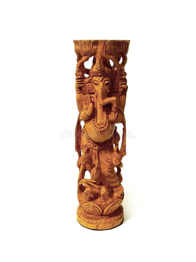 Architettura fatta a mano antica della statua della scultura di Ganesha fatta di legno immagine stock libera da diritti