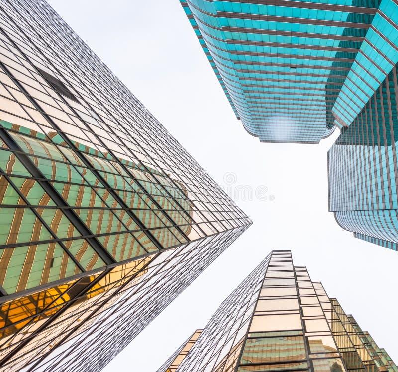 Architettura finanziaria dorata faccia a faccia in Hong Kong della Cina fotografie stock