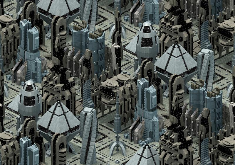 Architettura futuristica isometrica di fantascienza, città del futuro rappresentazione 3d royalty illustrazione gratis