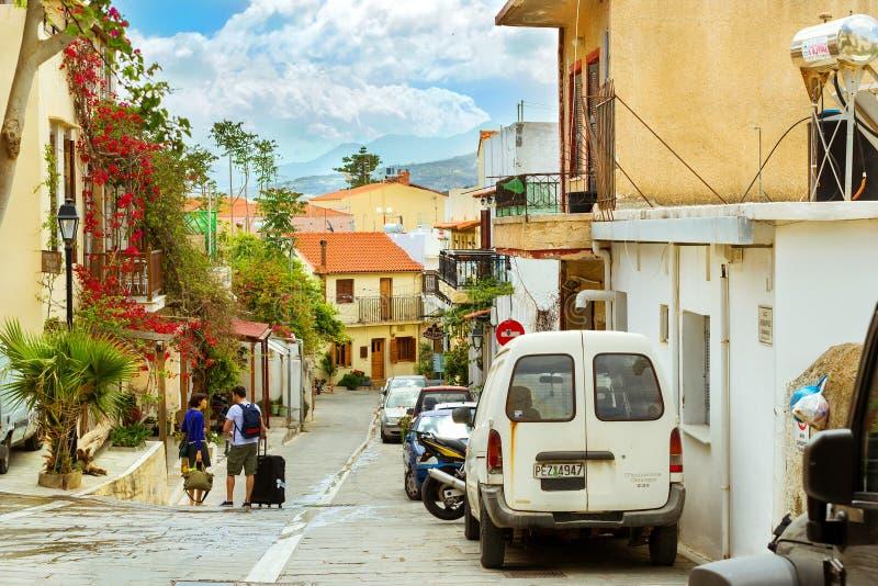 Architettura greca classica della località di soggiorno Rethymno, Creta fotografie stock libere da diritti