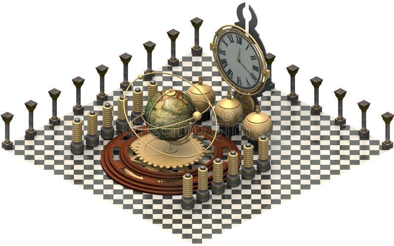 Architettura isometrica, macchina del tempo rappresentazione 3d illustrazione vettoriale