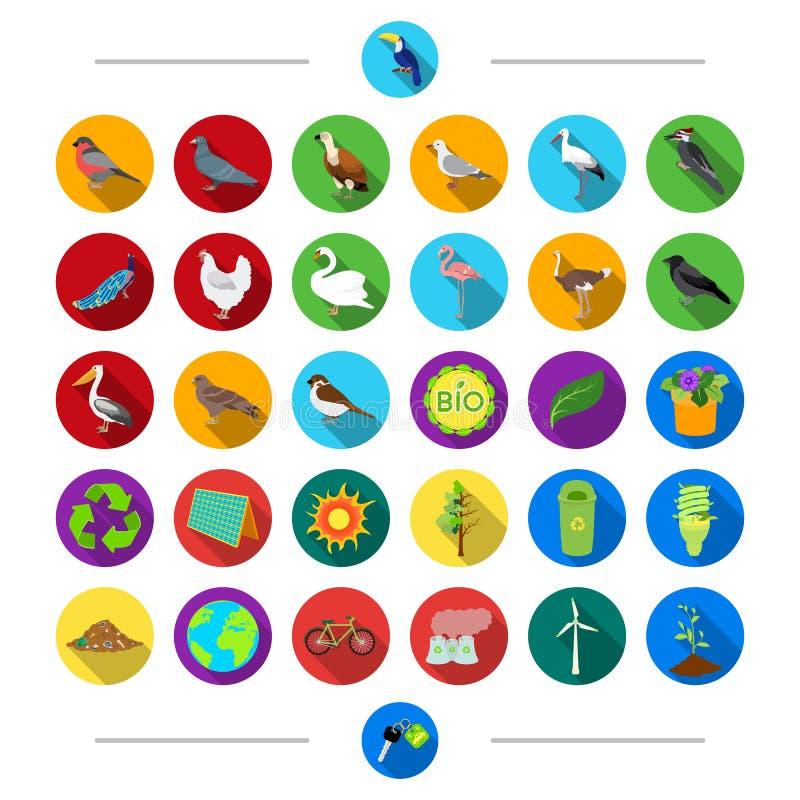 Architettura, la Francia, parrucchiere e l'altra icona di web nello stile del fumetto Chiave, animali, uccelli, icone selvagge ne illustrazione di stock
