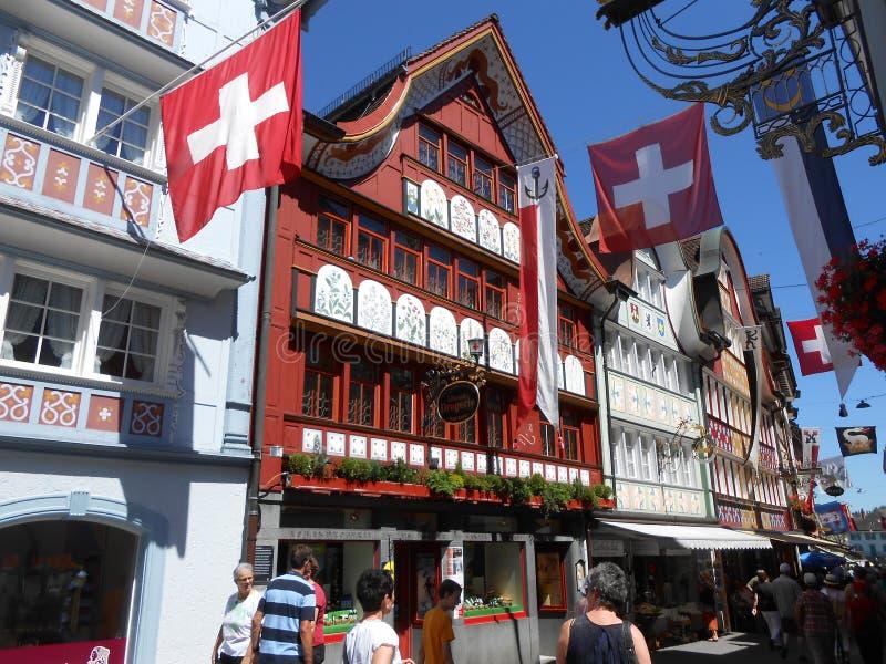 Architettura magica in Appenzell, Svizzera fotografie stock