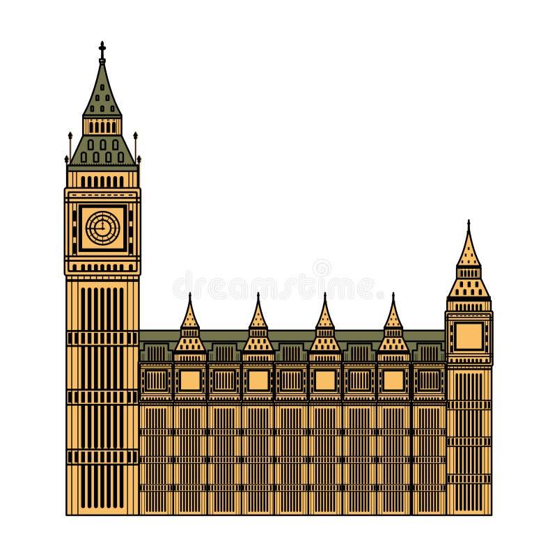 Architettura medievale della torre di orologio di Londra di colore royalty illustrazione gratis