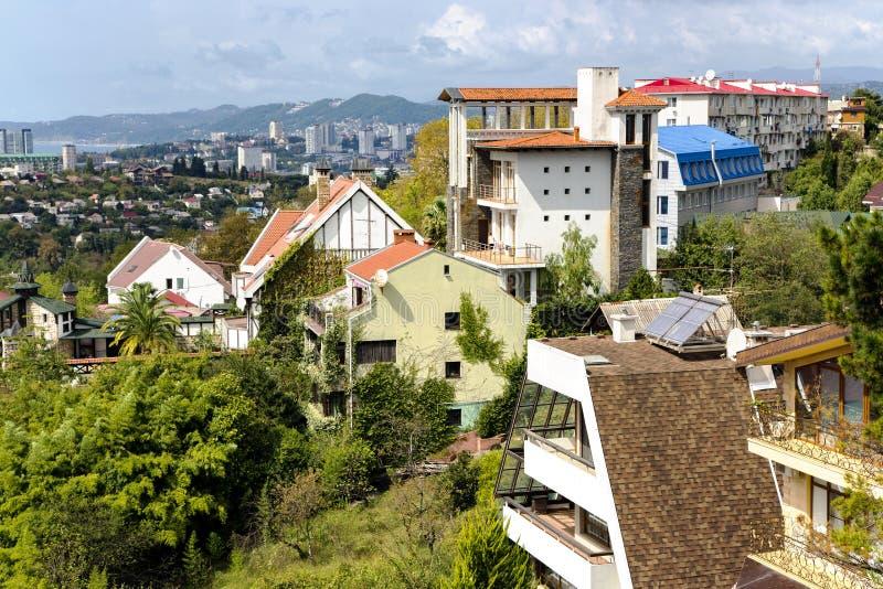 Architettura moderna di vista della città di Soci fotografia stock