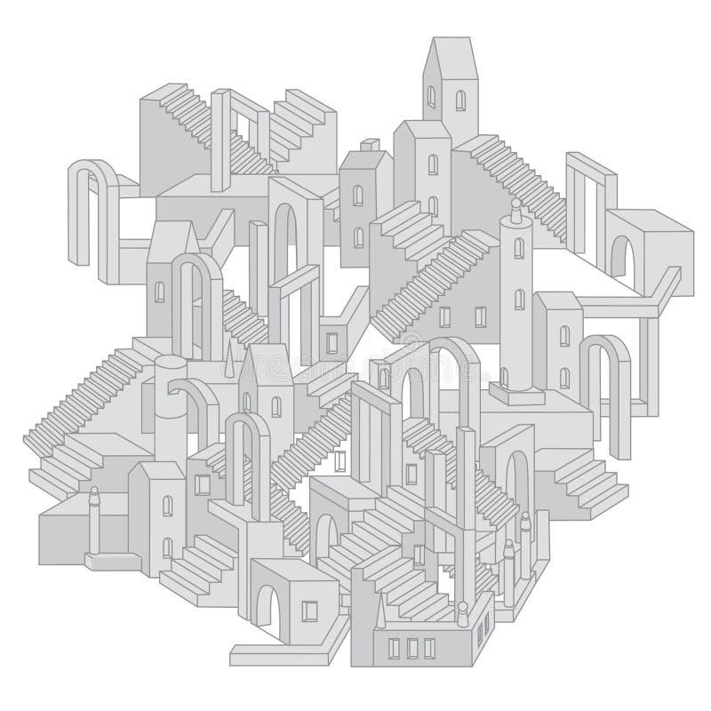 Architettura nella forma del labirinto illustrazione di stock