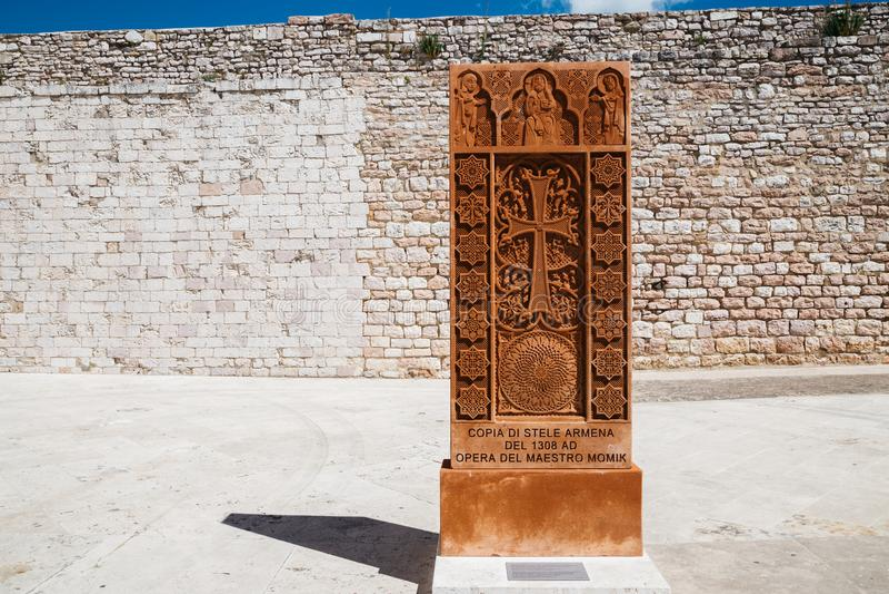 Architettura storica di Basilica di San Francesco a Assisi, Italia immagine stock