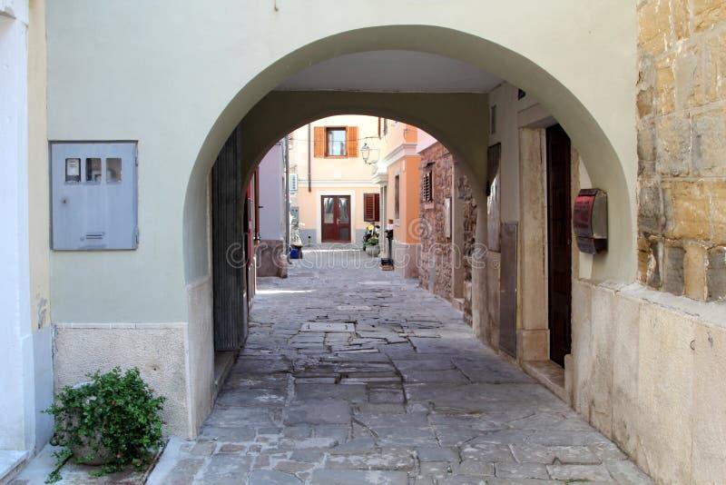 Architettura storica di Piran, Slovenia immagini stock
