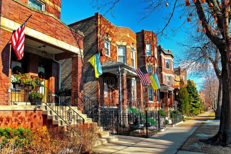 Architettura tipica nel villaggio ucraino a Chicago, U.S.A. fotografie stock libere da diritti
