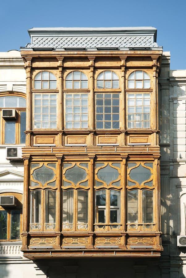 Architettura tradizionale Bacu Azerbaijan del balcone immagini stock