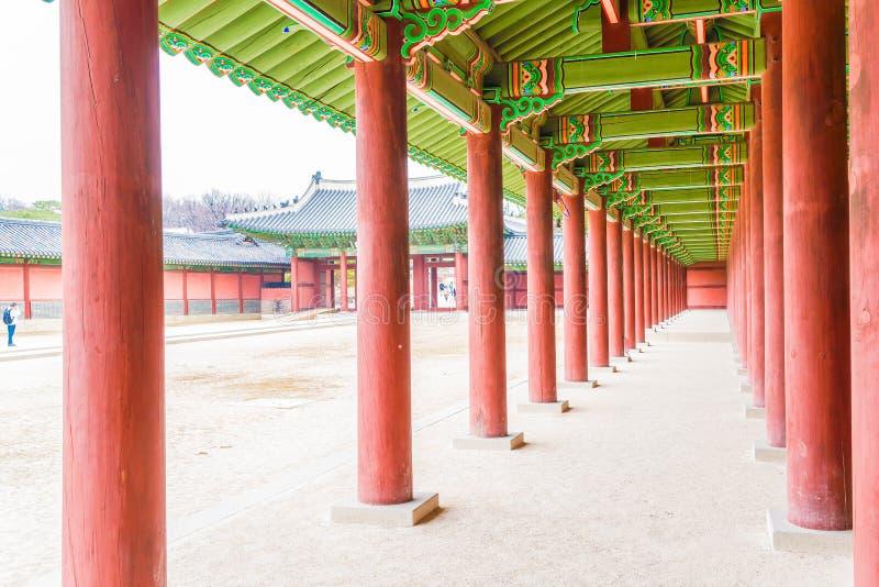 Architettura tradizionale del palazzo di Changdeokgung bella a Seoul fotografia stock