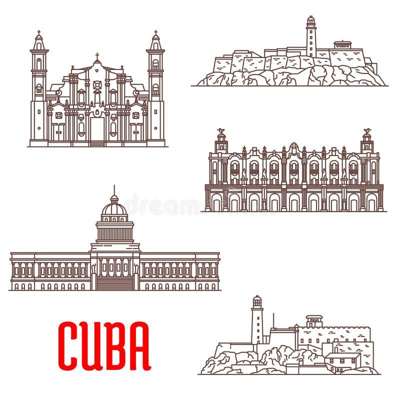 Architettura turistica di Cuba, icone dell'attrazione di viaggio royalty illustrazione gratis