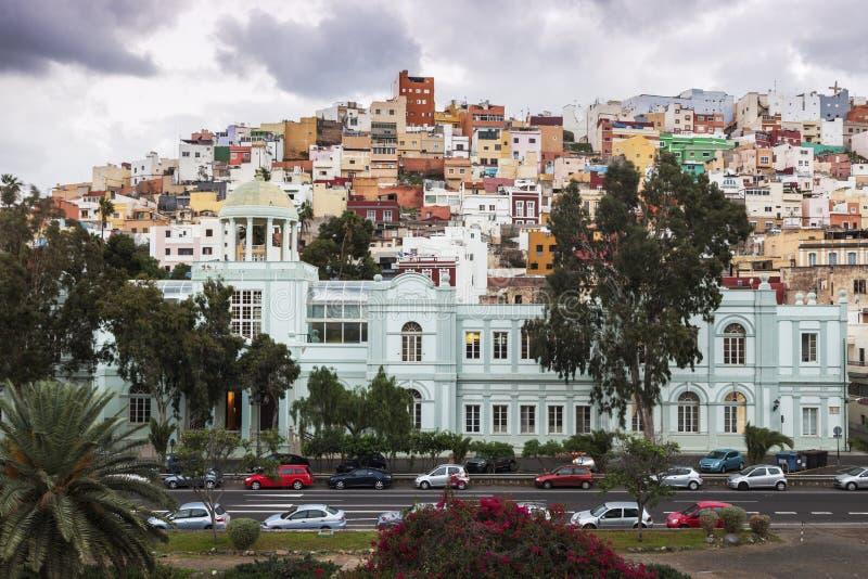 Architettura variopinta del quartiere ispanico San Juan in Las Palmas fotografia stock libera da diritti