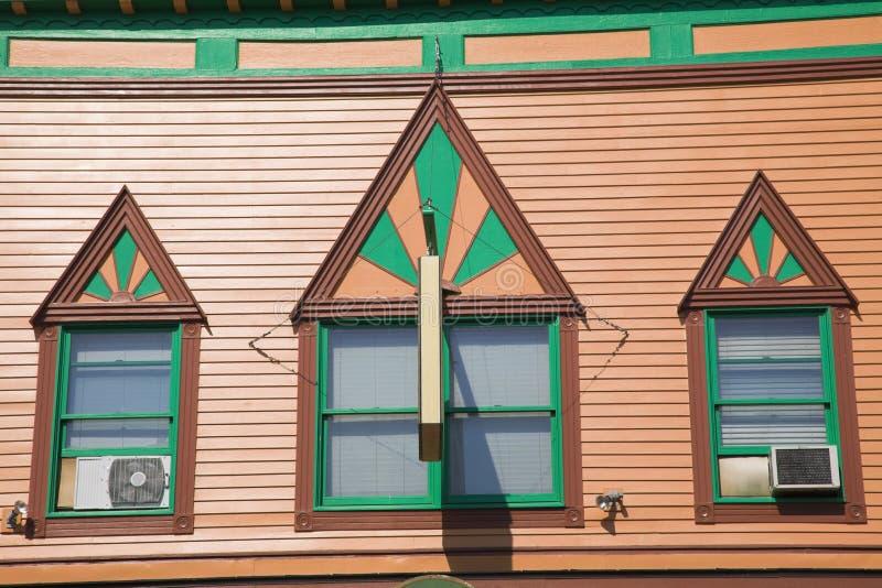 Architettura variopinta dell'isola di Mackinac fotografia stock