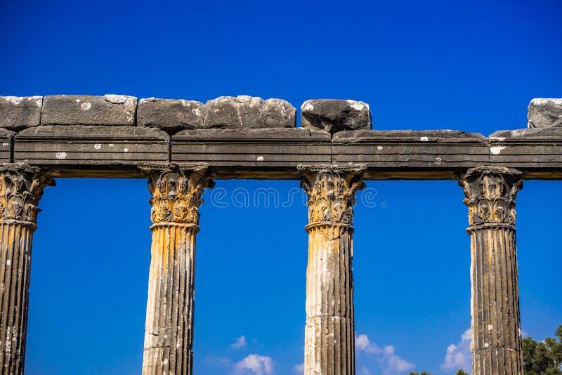 Architraw i szpaltowy szczegół od Euromos, Euromus znaczenia - «silne «ruiny, lokalizować właśnie z Söke-Milas drogi, Mugla, Tur obraz royalty free