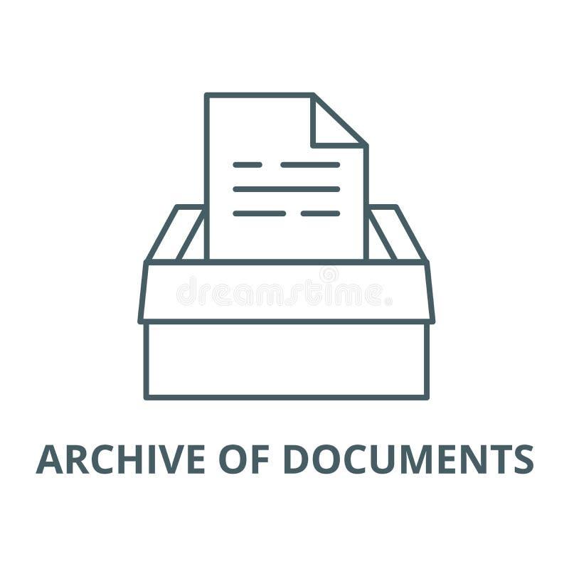 Archiv der Dokumentenvektorlinie Ikone, lineares Konzept, Entwurfszeichen, Symbol lizenzfreie abbildung