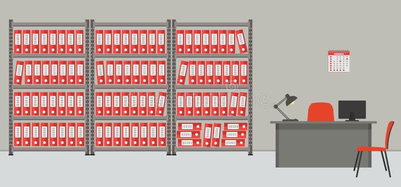 archiv Der Raum für Lagerung von Dokumenten Der Arbeitsplatz des Archivars stock abbildung