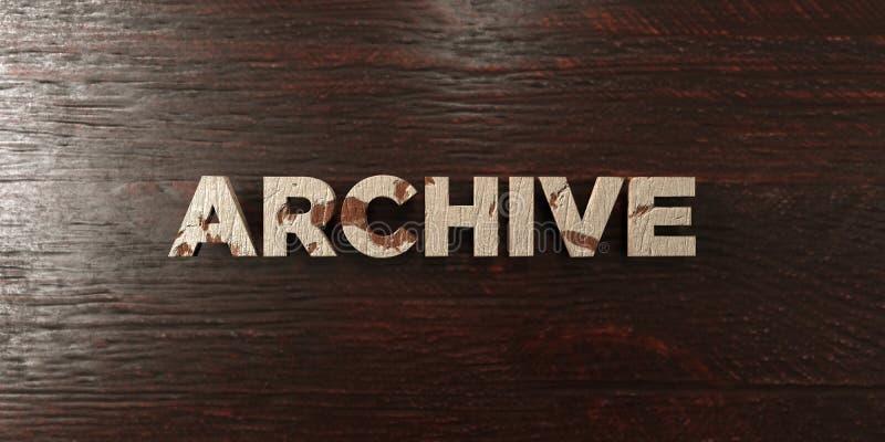 Archiv - grungy hölzerne Schlagzeile auf Ahorn - 3D übertrug freies Archivbild der Abgabe lizenzfreie abbildung