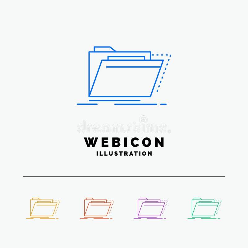 Archiv, Katalog, Verzeichnis, Dateien, Ordner 5 Farblinie-Netz-Ikonen-Schablone lokalisiert auf Weiß Auch im corel abgehobenen Be vektor abbildung