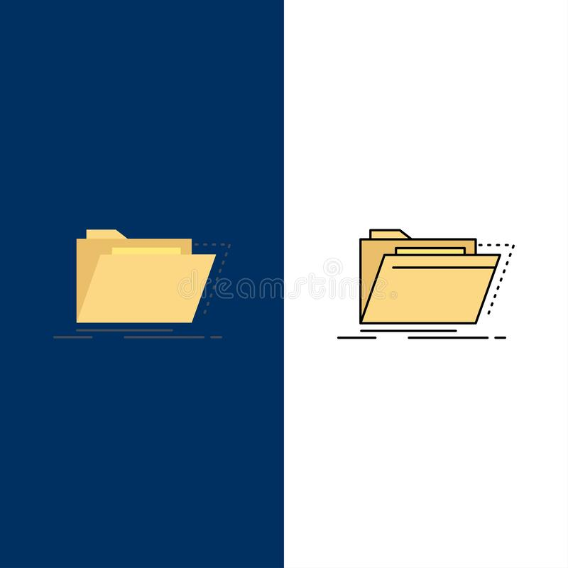 Archiv, Katalog, Verzeichnis, Dateien, Ordner flacher Farbikonen-Vektor vektor abbildung