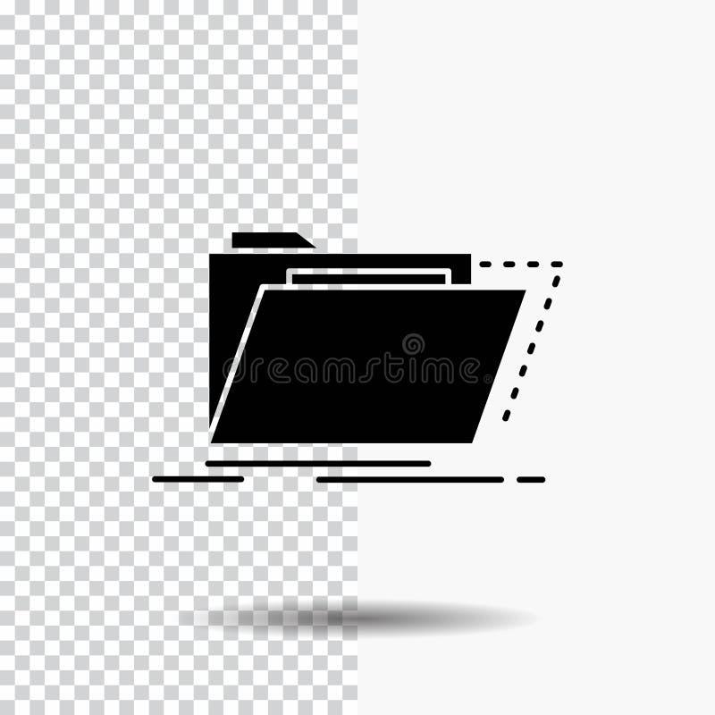 Archiv, Katalog, Verzeichnis, Dateien, Ordner Glyph-Ikone auf transparentem Hintergrund Schwarze Ikone stock abbildung